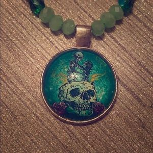 Jewelry - Green Glass Sugar Skulls Handcrafted Necklace Set